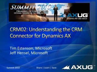 CRM02: Understanding the CRM Connector for Dynamics AX