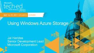 Using Windows Azure Storage