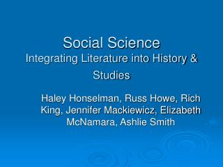 Social Science  Integrating Literature into History  Studies