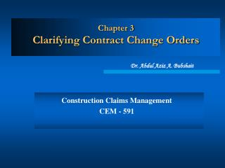 Chapter 3 Clarifying Contract Change Orders