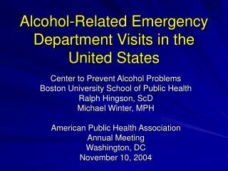 Alcohol-Related Emergency Department Visits in the United States