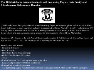 the 101st airborne association invites all screaming eagles,