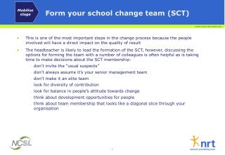 Form your school change team SCT