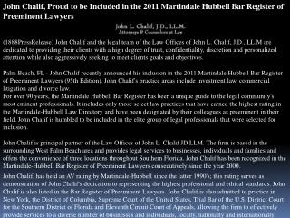 john chalif, proud to be included in the 2011 martindale hub
