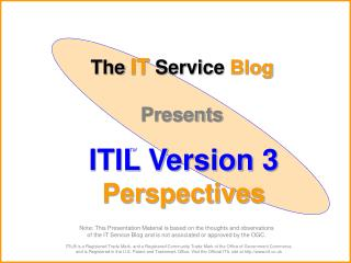 The IT Service Blog  Presents