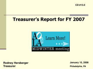 Treasurer s Report for FY 2007