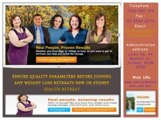 ensure quality parameters before joining health retreats syd