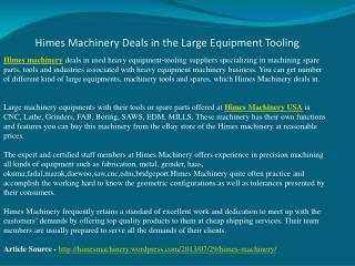 Himes Machinery Deals in the Large Equipment Tooling