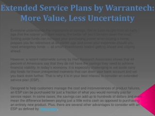 Extended Service Plans by Warrantech: More Value, Less Uncer