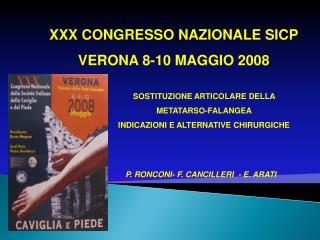 XXX CONGRESSO NAZIONALE SICP VERONA 8-10 MAGGIO 2008