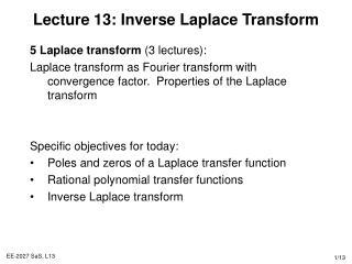 Lecture 13: Inverse Laplace Transform