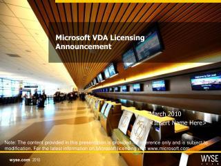 Microsoft VDA Licensing Announcement