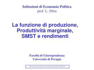 Istituzioni di Economia Politica prof. L. Ditta