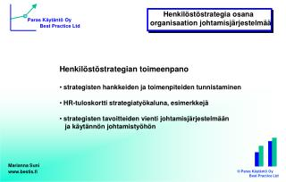 Henkil st strategian toimeenpano   strategisten hankkeiden ja toimenpiteiden tunnistaminen    HR-tuloskortti strategiaty