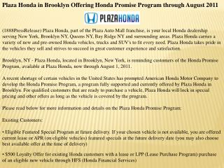 plaza honda in brooklyn offering honda promise program throu