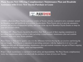 plaza toyota now offering complimentary maintenance plan and