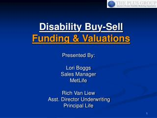 Disability Buy-Sell Funding  Valuations
