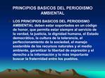 PRINCIPIOS BASICOS DEL PERIODISMO AMBIENTAL
