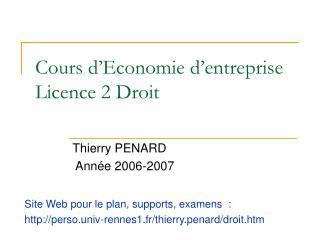 Cours d Economie d entreprise Licence 2 Droit
