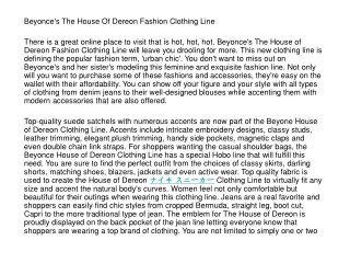 Beyonce's The House Of Dereon Fashion Clothing Line