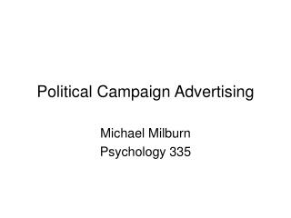 Political Campaign Advertising