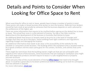 Details and Points to Consider When Looking for Office Space