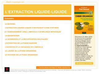 L EXTRACTION LIQUIDE-LIQUIDE