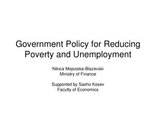 Government Policy for Reducing Poverty and Unemployment