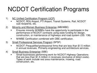NCDOT Certification Programs