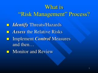 What is   Risk Management  Process