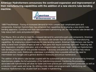American Hydroformers announces the continued expansion