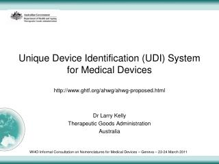 Unique Device Identification UDI System for Medical Devices  ghtf