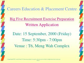 Careers Education  Placement Centre
