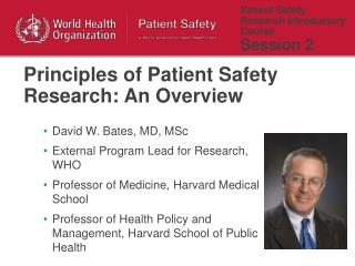 Patient Safety Research Introductory Course  Session 2
