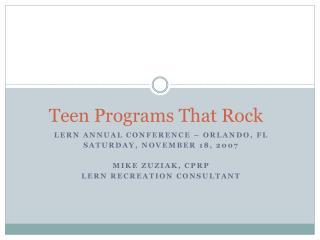 Teen Programs That Rock