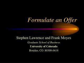 Formulate an Offer