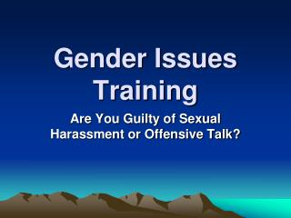 Gender Issues Training