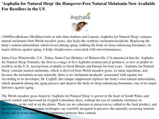 'asphalia for natural sleep' the hangover-free natural melat
