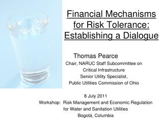 Financial Mechanisms for Risk Tolerance:  Establishing a Dialogue