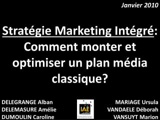 Strat gie Marketing Int gr : Comment monter et optimiser un plan m dia classique