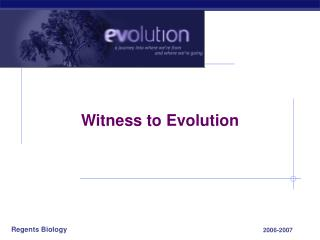 Witness to Evolution