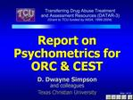 Report on Psychometrics for  ORC  CEST