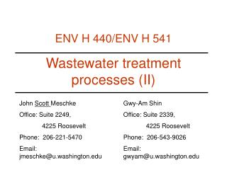 Wastewater treatment processes II