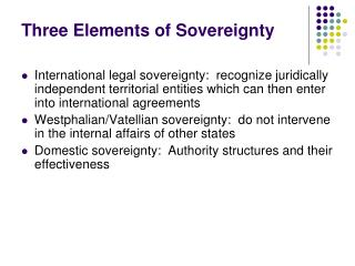 Three Elements of Sovereignty