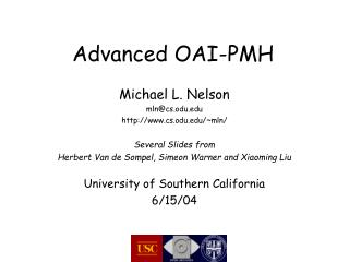 Advanced OAI-PMH