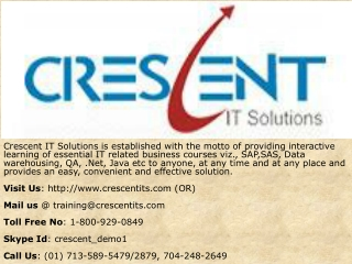 Crescent IT Solutions Received Testimonial on Oracle PL/SQL