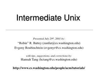 Intermediate Unix