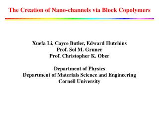 The Creation of Nano-channels via Block Copolymers