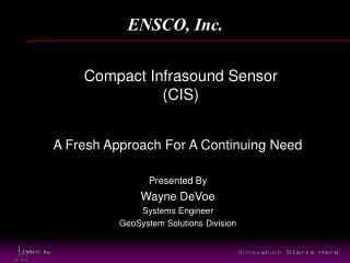 Compact Infrasound Sensor CIS