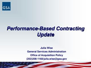 Performance-Based Contracting Update